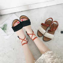 Sandals 35 36 37 38 39 Black Beige The south is in the south PU Barefoot Flat bottom Low heel (1-3cm) Summer of 2018 Frenulum Solid color Adhesive shoes Youth (18-40 years old) daily Back space Tassel platform Low Gang Hollow Roman shoes
