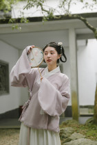 National costume / stage costume Autumn of 2019 The purple jacket will be delivered within 3 days after taking photos, and the white waist skirt will be delivered within 3 days after taking photos XS,S,M,L