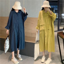 Dress Other / other Blue, (90 to 200 Jin can be worn), (collection added to shopping cart free freight insurance) 40. XXL, XXXL, increase XXXL Korean version Long sleeves Medium length spring Lapel Solid color Chiffon
