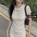 Dress Summer 2021 White, black S, M Short skirt Fake two pieces commute Solid color Korean version knitting