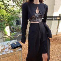 Fashion suit Spring 2021 S,M,L Leopard strap, black suit coat, black skirt #22859 polyester fiber