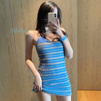 Dress Summer 2020 Many kinds of blue Average size Short skirt singleton  commute camisole 18-24 years old Type A Wang Jixiong Korean version Ct9qOB More than 95% other Triacetate fiber (triacetate fiber) 100%