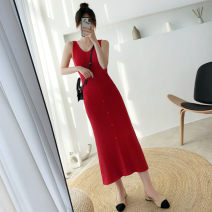 Dress Autumn 2020 Red, grey, black Average size longuette singleton  Sleeveless commute V-neck High waist Solid color Socket A-line skirt routine camisole 25-29 years old Type A Other / other Korean version 30% and below knitting other