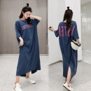 Dress Summer of 2019 Blue, army green, pink, yellow, dark gray, dark green, elegant black, gorgeous black, night black M,L,XL,2XL,3XL longuette singleton  Short sleeve commute Crew neck Loose waist other Socket other routine Others 18-24 years old Type H Other / other Korean version Pocket, print