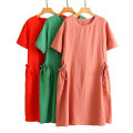 Dress Summer 2020 Average size Mid length dress Short sleeve Crew neck Solid color 51% (inclusive) - 70% (inclusive) other