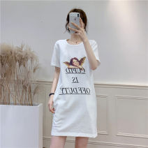 Dress Summer of 2019 White, black S,M,L Mid length dress 18-24 years old