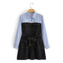 Dress Summer 2021 Blue and white bar + black, blue and white bar + deep khaki, blue and white bar + light khaki M, L 18-24 years old