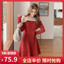 Women's large Spring 2021 Red JH S M L XL 2XL 3XL 4XL Dress singleton  commute easy moderate Socket Long sleeves Korean version other routine 1-21CS0008H-XX- Yifengweier 18-24 years old Medium length Polyester 42% viscose 40% polyamide 18% Pure e-commerce (online only) other bow