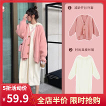 Women's large Autumn 2020 Single coat single skirt coat + dress [suit] S M L XL 2XL 3XL 4XL Dress Two piece set commute easy moderate Cardigan Long sleeves Solid color Korean version Hood routine routine B9-24AMN8399-A Yifengweier 18-24 years old Medium length Pure e-commerce (online only)