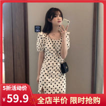 Women's large Summer 2021 Picture color [3 days in advance] S M L XL 2XL 3XL 4XL Dress singleton  Sweet easy moderate Socket Short sleeve Dot Crew neck routine 3-17CS0242 Yifengweier 18-24 years old Short skirt Polyester 100% Pure e-commerce (online only) solar system