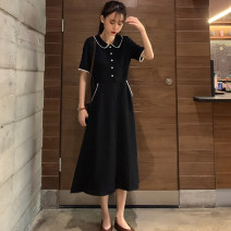 Women's large Summer 2020 black M L XL 2XL 3X 4XL 5XL Dress singleton  Sweet easy moderate Socket Short sleeve Solid color Polo collar Medium length Three dimensional cutting puff sleeve X1602 Yifengweier 18-24 years old Button Medium length Other polyester 95% 5% Pure e-commerce (online only) shorts