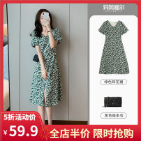 Dress Summer 2021 Short and long S M L XL 2XL 3XL 4XL Mid length dress singleton  Short sleeve Sweet V-neck Broken flowers Princess Dress routine 18-24 years old Yifengweier 3-6CS0234- More than 95% polyester fiber Polyester 100% solar system Pure e-commerce (online only)