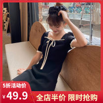 Women's large Summer 2020 Hepburn's little black dress S M L XL 2XL 3XL 4XL Dress singleton  commute easy moderate Socket Short sleeve Solid color Korean version Lotus leaf collar have cash less than that is registered in the accounts polyester puff sleeve A6-26HL8837-A Yifengweier 18-24 years old