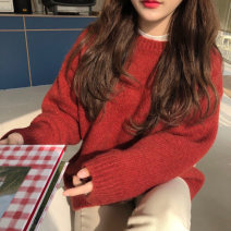Women's large Spring 2021 Red sweater S M L XL 2XL 3XL 4XL sweater singleton  commute easy moderate Socket Long sleeves Solid color Korean version Crew neck routine 1-18CS0152 Yifengweier 18-24 years old Polyester 42% viscose 40% polyamide 18% Pure e-commerce (online only)