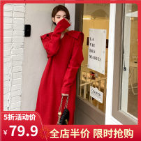 Women's large Spring 2021 Red JH S M L XL 2XL 3XL 4XL Dress singleton  commute easy moderate Socket Long sleeves Solid color Korean version square neck routine 12-30C5399HS-XX Yifengweier 18-24 years old Medium length Pure e-commerce (online only)