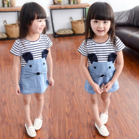 T-shirt Cat dress Other / other 80cm,90cm,100cm,110cm,120cm,130cm female summer Short sleeve Crew neck princess No model cotton stripe 6 months, 12 months, 9 months, 18 months, 2 years old, 3 years old, 4 years old, 5 years old, 6 years old