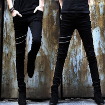 Jeans Youth fashion Others 27,28,29,30,31,32,33,34,36 Plush and thicken Micro bomb Regular denim trousers Other leisure spring teenagers Medium low back Slim feet tide 2021 Pencil pants zipper Three dimensional tailoring cotton