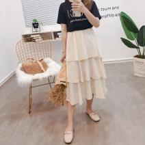 skirt Summer of 2019 XXS,XS Black, light apricot longuette Versatile High waist Cake skirt Dot Type A 18-24 years old Chiffon