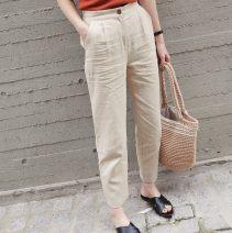 Casual pants White, black, light khaki XS,S,M,L,XL,2XL Summer of 2018 trousers Straight pants High waist commute Thin money 25-29 years old 91% (inclusive) - 95% (inclusive) hemp Korean version hemp