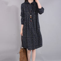 Dress Autumn of 2019 Navy, green M,L,XL,2XL Mid length dress singleton  Long sleeves commute Double collar Loose waist Single breasted Type H literature 3550# 51% (inclusive) - 70% (inclusive) cotton