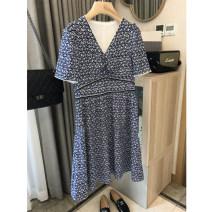 Dress Summer 2021 Antique blue pattern M,L,XL,2XL Mid length dress singleton  Short sleeve commute V-neck High waist Broken flowers Socket A-line skirt routine Type A QA12240