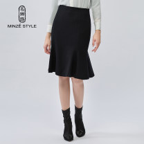 skirt Winter of 2019 M,L,XL,XXL Navy Black Middle-skirt commute Natural waist other Solid color Type X 35-39 years old TW2059002 More than 95% Wool Minze style / Mingshi Road wool Splicing Ol style