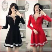 Dress Spring 2020 Black, red L,M,S,XL Short skirt singleton  Long sleeves Sweet V-neck middle-waisted Solid color zipper Big swing routine Others 18-24 years old 81% (inclusive) - 90% (inclusive) brocade princess