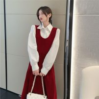 Dress Spring 2021 Red, black Average size longuette Two piece set Long sleeves commute Crew neck High waist Solid color Socket A-line skirt routine straps 18-24 years old Type A Korean version Button 81% (inclusive) - 90% (inclusive) other other