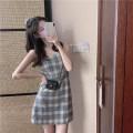 Dress Summer 2021 lattice XS,S,M,L Short skirt singleton  Sleeveless Sweet One word collar High waist lattice Socket A-line skirt camisole 18-24 years old Type A Other / other A1040