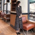 Dress Spring 2021 Yellow, black Average size longuette singleton  Long sleeves commute V-neck High waist Decor Socket Princess Dress other Others 18-24 years old Type A Korean version printing 51% (inclusive) - 70% (inclusive) Chiffon other