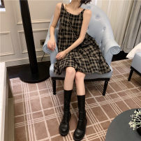 Dress Summer 2021 Black, check S, M Middle-skirt singleton  Sleeveless commute V-neck High waist lattice Socket A-line skirt routine camisole 18-24 years old Type A Retro 51% (inclusive) - 70% (inclusive) brocade cotton