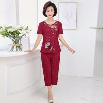 Middle aged and old women's wear Summer 2020 XL,XXL,XXXL,4XL simple suit easy Two piece set other 50-59 years old Socket thin Crew neck routine routine Other / other Polyester, others