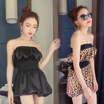 Dress Autumn of 2018 Black, leopard print S, M Short skirt singleton  Sleeveless One word collar middle-waisted Leopard Print Socket One pace skirt Breast wrapping 18-24 years old Other / other Pleating, open back, pleating, stitching
