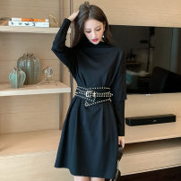 Dress Autumn 2020 black S,M,L,XL Middle-skirt singleton  Long sleeves commute High collar High waist Solid color Socket A-line skirt routine Others 18-24 years old Type A Britain pocket