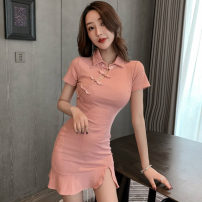 Dress Summer 2020 Pink S,M,L Short skirt singleton  Short sleeve commute Polo collar High waist Solid color Three buttons Ruffle Skirt routine Others 18-24 years old T-type Retro Lotus leaf edge 81% (inclusive) - 90% (inclusive) other polyester fiber