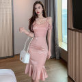 Dress Spring 2021 Bean paste powder S,M,L Middle-skirt singleton  Sleeveless commute V-neck High waist Solid color zipper Ruffle Skirt other camisole 18-24 years old T-type Korean version Stitching, ruffles 91% (inclusive) - 95% (inclusive) polyester fiber