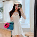 Dress Autumn 2020 white S,M,L Middle-skirt Two piece set Long sleeves commute Crew neck High waist Solid color Socket One pace skirt routine camisole 18-24 years old Type H Korean version Hollowing out