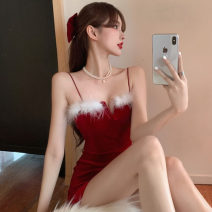 Dress Summer 2020 New year's red S,M,L Short skirt singleton  Sleeveless commute One word collar High waist Solid color Socket One pace skirt camisole 18-24 years old Type H Korean version Splicing other polyester fiber