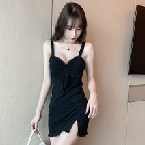 Dress Summer 2021 black S,M,L Short skirt singleton  Sleeveless commute V-neck High waist Solid color Socket One pace skirt other camisole 18-24 years old Type H Korean version Fold, open back, stitching 81% (inclusive) - 90% (inclusive) cotton