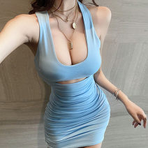 Dress Summer 2021 sky blue S,M,L Short skirt singleton  Sleeveless commute square neck High waist Solid color Socket One pace skirt straps 18-24 years old Type H Korean version Hollow out, open back, pleated 91% (inclusive) - 95% (inclusive) knitting cotton