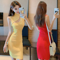 Dress Summer of 2019 Red, yellow, black Average size Short skirt singleton  Sleeveless Sweet High collar High waist Solid color Socket One pace skirt Others 18-24 years old Type H Other / other Hollow out, threaded