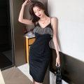 Dress Spring 2021 black S,M,L Short skirt singleton  Sleeveless commute V-neck High waist Solid color Socket One pace skirt camisole 18-24 years old Type H Korean version Lotus leaf edge