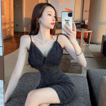 Dress Summer 2021 black S,M,L Short skirt singleton  Sleeveless commute V-neck High waist Solid color zipper One pace skirt camisole 18-24 years old Type H Korean version backless 91% (inclusive) - 95% (inclusive) polyester fiber