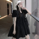 Dress Summer 2021 White, black Average size Short skirt singleton  Short sleeve Sweet square neck High waist Solid color Socket A-line skirt puff sleeve Others 18-24 years old Type X other