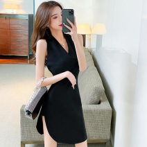 Dress Summer 2021 White, black S,M,L Short skirt singleton  Sleeveless commute V-neck High waist Solid color zipper other Hanging neck style 18-24 years old Type H Korean version backless 91% (inclusive) - 95% (inclusive) other