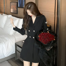 Dress Winter 2020 black S,M,L Short skirt singleton  Long sleeves commute tailored collar High waist Solid color Single breasted A-line skirt routine Others 18-24 years old Type A Korean version bow