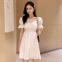 Dress Summer 2021 Off white, yellow S,M,L,XL Short skirt singleton  Short sleeve commute One word collar High waist Solid color zipper One pace skirt pagoda sleeve Others 18-24 years old Type X Other / other Korean version