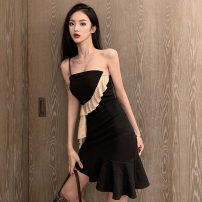 Dress Spring 2021 black S,M,L Short skirt singleton  Sleeveless commute One word collar High waist Solid color Socket Ruffle Skirt camisole 18-24 years old Type A Korean version Ruffles, open back, stitching