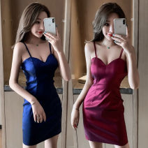Dress Autumn of 2019 S,M,L Short skirt singleton  Sleeveless commute V-neck High waist Solid color One pace skirt camisole 18-24 years old Type H Retro backless