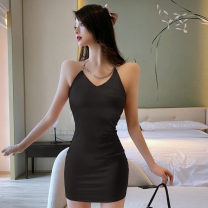 Dress Summer 2021 Black, pink S,M,L Short skirt singleton  Sleeveless commute V-neck High waist Solid color zipper One pace skirt camisole 18-24 years old Type H Korean version other